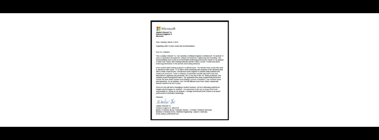 microsoft reference letter