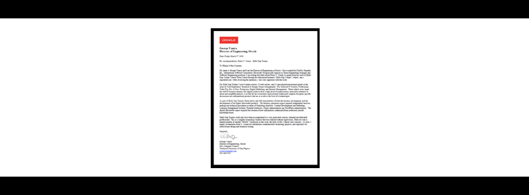 oracle reference letter