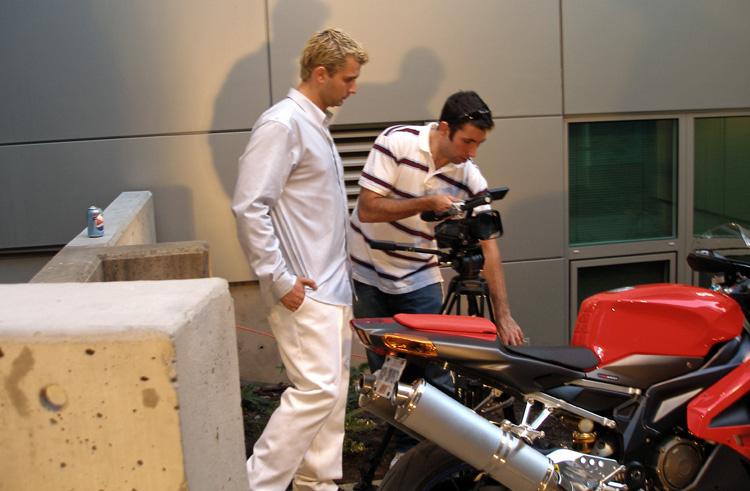 chris filming motorcycle getaway